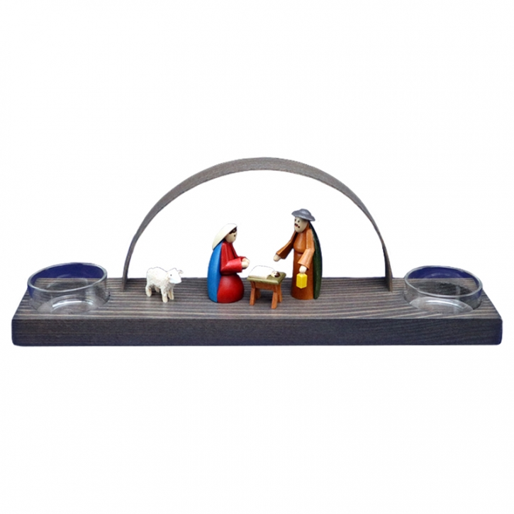 Christmas arch for 2 tealights <br>»Nativity - multicoloured«