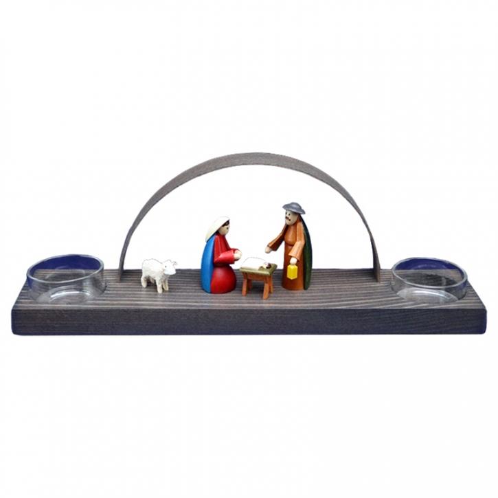 Teelicht-Schwibbogen für 2 Kerzen <br>»Christi Geburt - bunt«