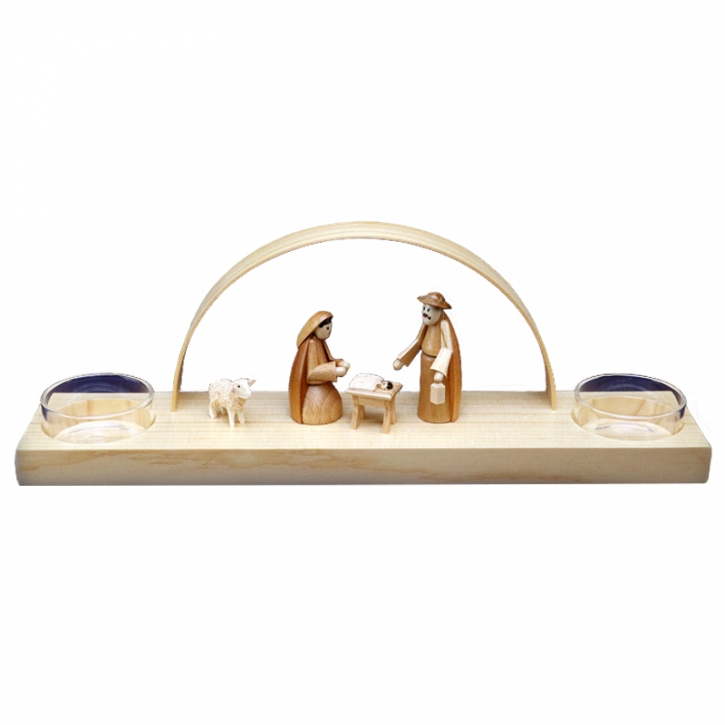 Teelicht-Schwibbogen für 2 Kerzen <br>»Christi Geburt - natur«