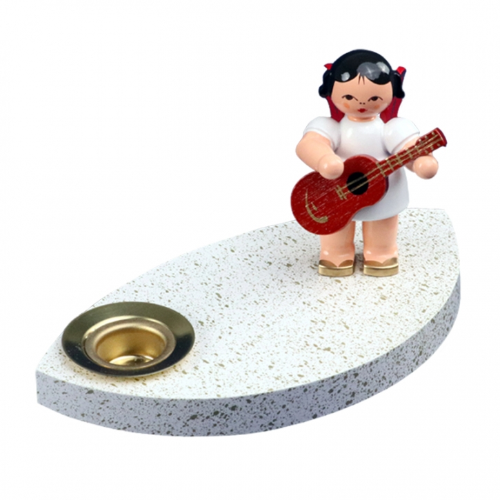 Kerzenhalter <br>»Engel mit Gitarre - rote Flügel«