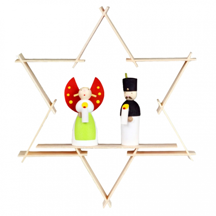 Star-shaped tree ornament <br>»Angel and Miner«