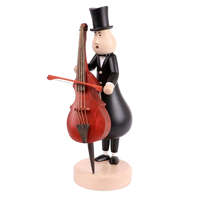 Smoking figure <br>»Double bass player Eugen« <br>29cm