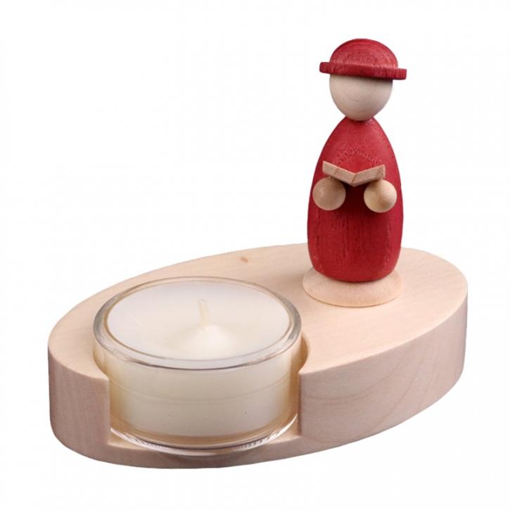 Teelichthalter <br>»LIGNULUM Codex - rubin«