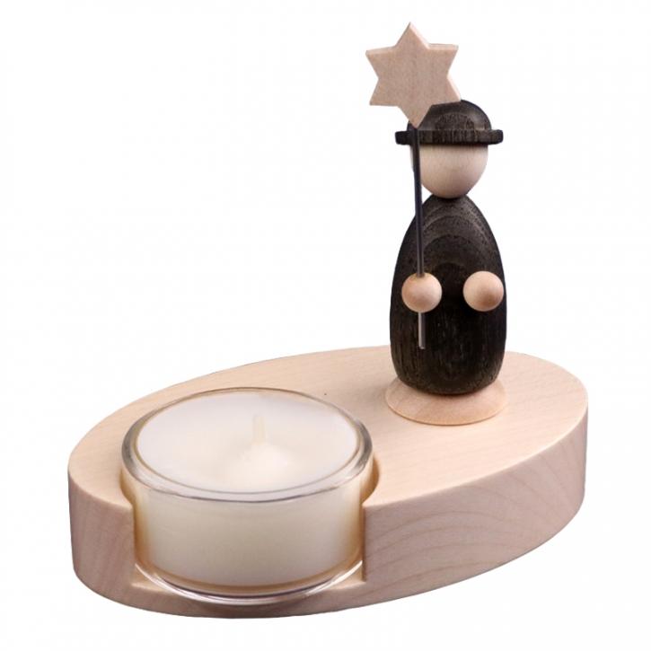 Teelichthalter <br>»LIGNULUM Sidus - schwarz«