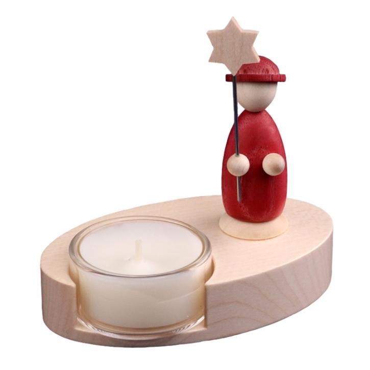 Teelichthalter <br>»LIGNULUM Sidus - rubin«