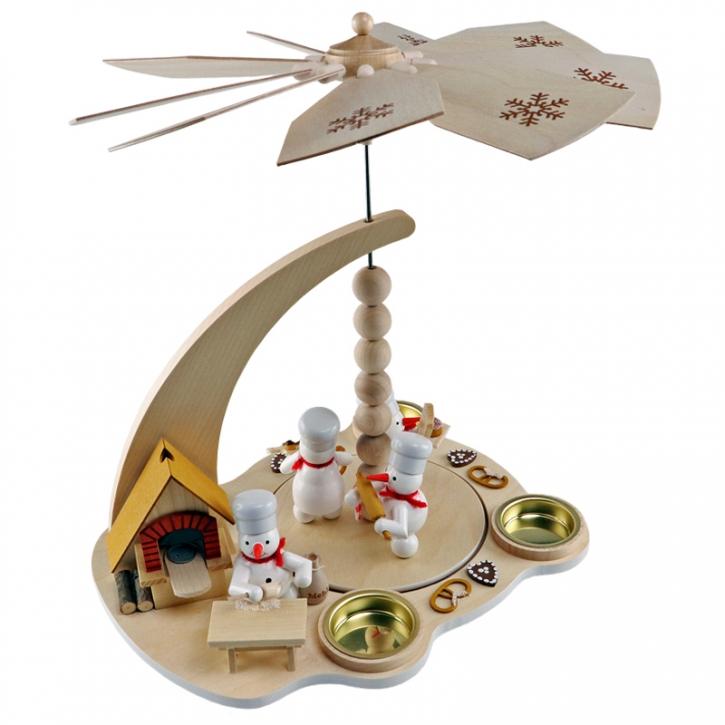Schneemannpyramide <br>»Weihnachtsbäckerei mit Räucher-Backofen« <br>27 cm