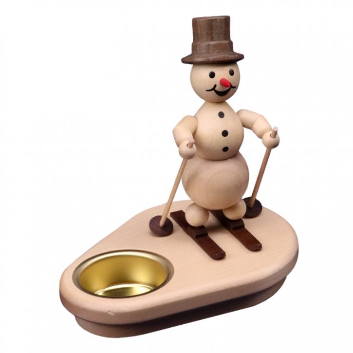Snowman candle holder <br>»Skier« <br>12cm