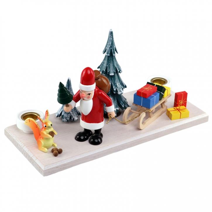Kerzenhalter <br>»Weihnachtsmann im Winterwald« <br>Große Grundplatte