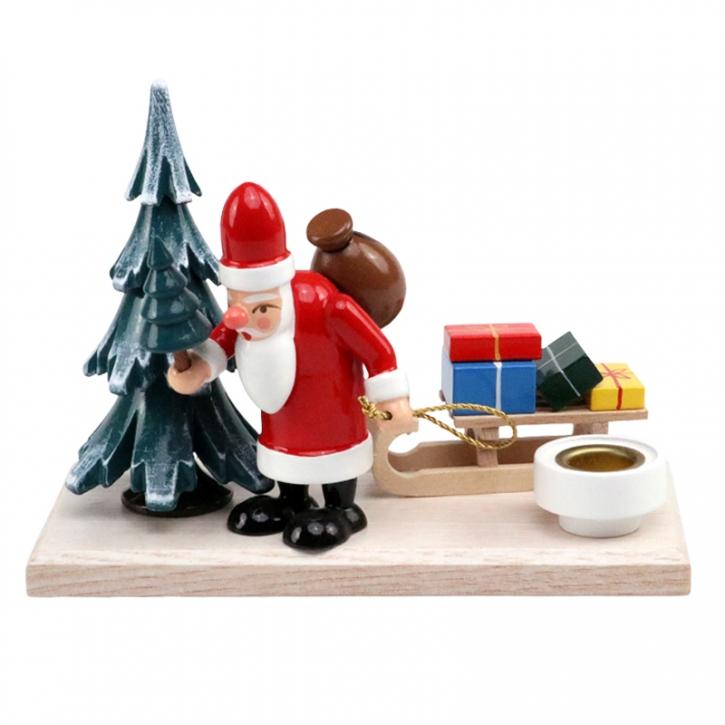 """Kerzenhalter <br>»Weihnachtsmann im Winterwald"""" <br>Kleine Grundplatte"""