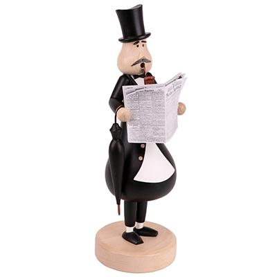 Smoking figure <br>»The newspaper reader Konrad« <br>30cm